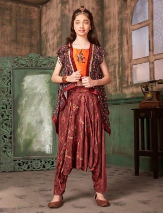 Maroon hued jecket style dhoti suit for girls