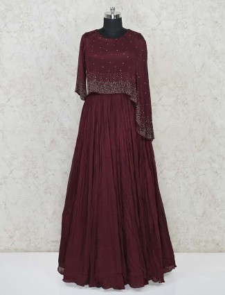 Maroon indo western designer dress in crush chiffon for party