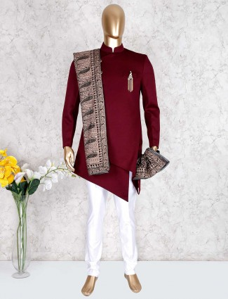 Maroon indo western in terry rayon