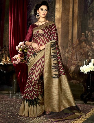 Maroon kamakshi silk saree