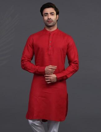 Maroon linen festive occasion mens kurta