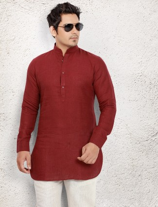Maroon linen short pathani