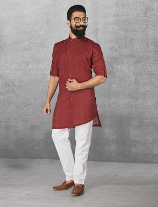 Maroon linen simple kurta suit