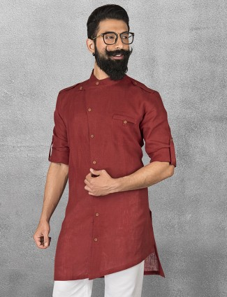 Maroon linen simple short pathani
