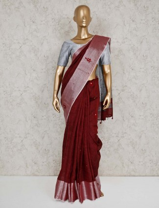 Maroon linen wedding saree