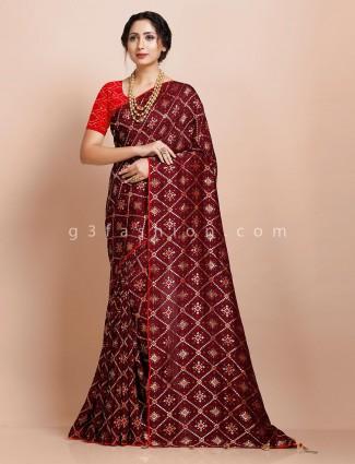 Maroon muga silk heavy zari weaving saree