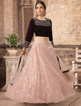 Maroon net wedding lehenga choli