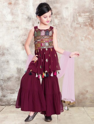 Maroon party wear punjabi sharara suit in georgette