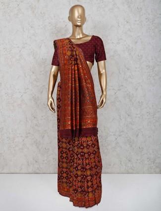 Maroon patola silk saree in reception