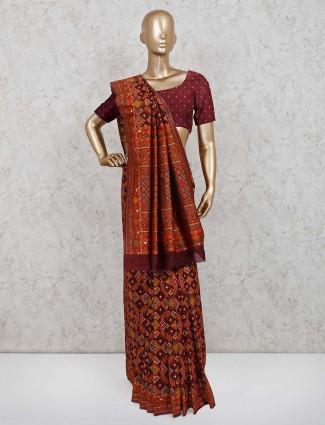 Maroon patola silk wedding saree