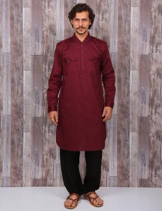 Maroon plain cotton pathani suit