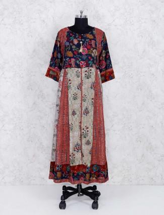 Maroon printed cotton long kurti set