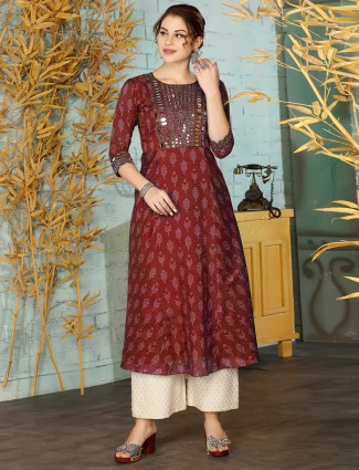 Maroon printed cotton palazzo suit