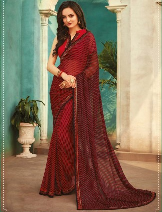 Maroon printed georgette saree for festival