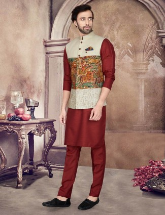 Maroon printed party wear mens waistcoat set in cotton silk