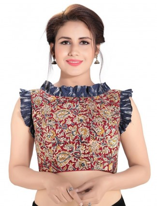 Maroon printed readymade blouse in cotton