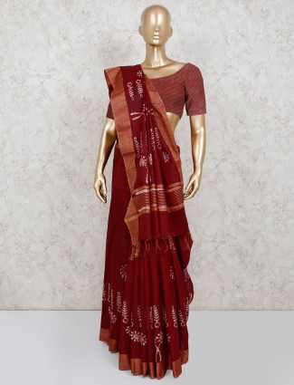 Maroon printed saree with unstitched blouse piece
