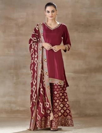 Maroon punjabi palazzo suit in cotton silk