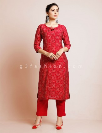 Maroon punjabi printed pant suit in cotton