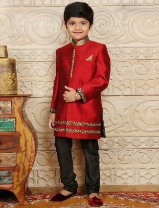 Maroon raw silk boys sherwani