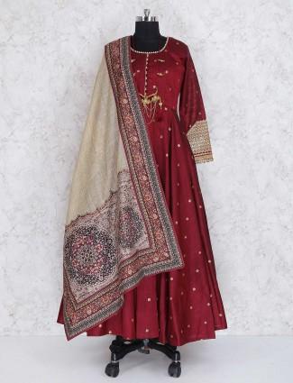 Maroon raw silk festive wear anarkali suit
