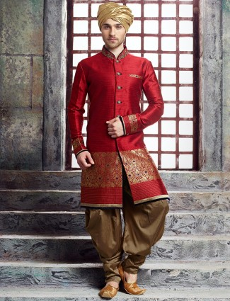 Maroon raw silk kurta suit