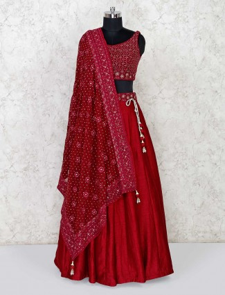 Maroon raw silk lehenga for wedding and party function