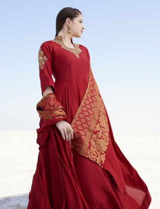 Maroon ready made silk anarkali suit for wedding
