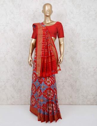 Maroon reception wear patola silk saree