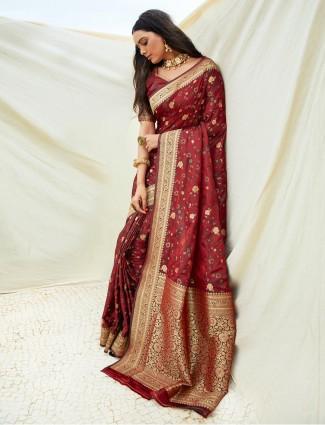 Maroon reception wear semi banarasi silk