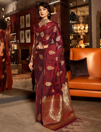 Maroon saree design in jacquard silk