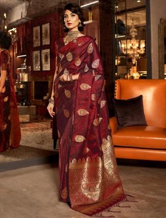 Maroon saree design in jacquard silk