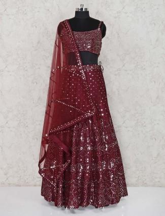 Maroon satin wedding wear lehenga choli