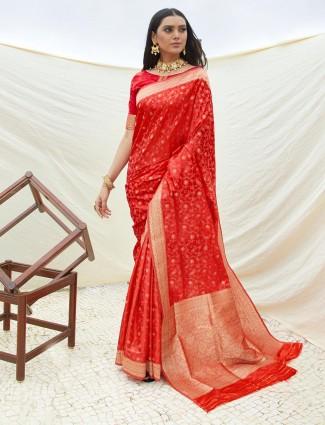 Maroon semi banarasi silk reception wear