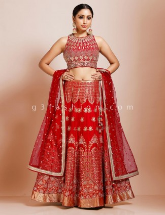 Maroon silk bridal wear designer lehenga choli