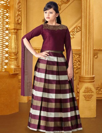 Maroon silk fabric designer lehenga choli