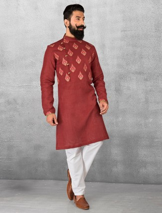 Maroon silk fabric kurta suit