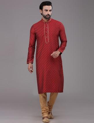 Maroon silk printed kurta suit