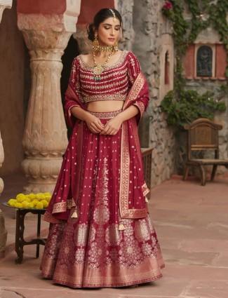 Maroon silk lehenga choli special for wedding