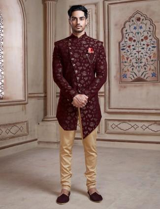 Maroon silk party wear indo western with churidar