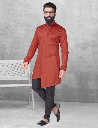 Maroon silk simple kurta suit