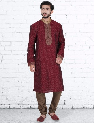 Maroon silk wedding kurta suit