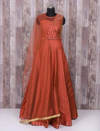 Maroon silk wedding wear anarkali salwar suit