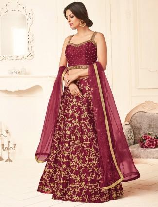 Maroon silk wedding wear attractive lehenga choli