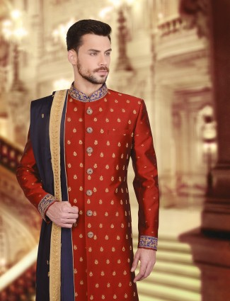 Maroon silk wedding wear royal sherwani