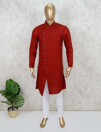 Maroon solid cotton kurta suit