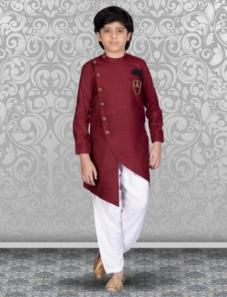 Maroon solid cotton kurta with patiala