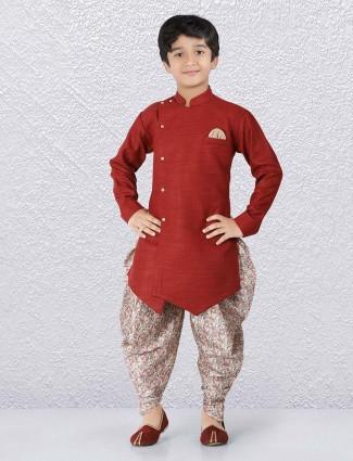 Maroon solid cotton slim fit kurta suit