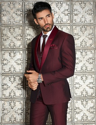 Maroon solid designer coat suit