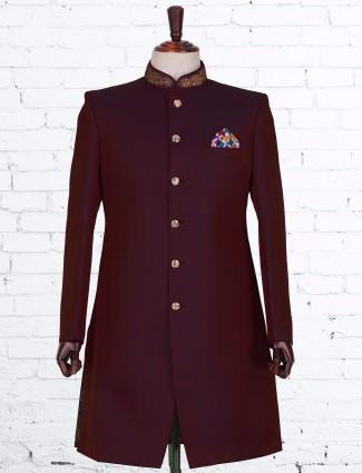 Maroon solid silk indo western
